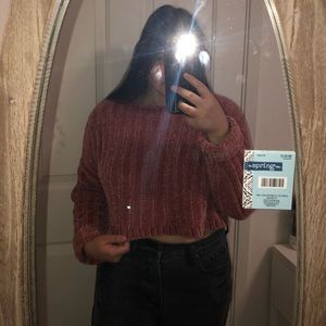 Forever 21 velvet cropped sweater (Size Medium)